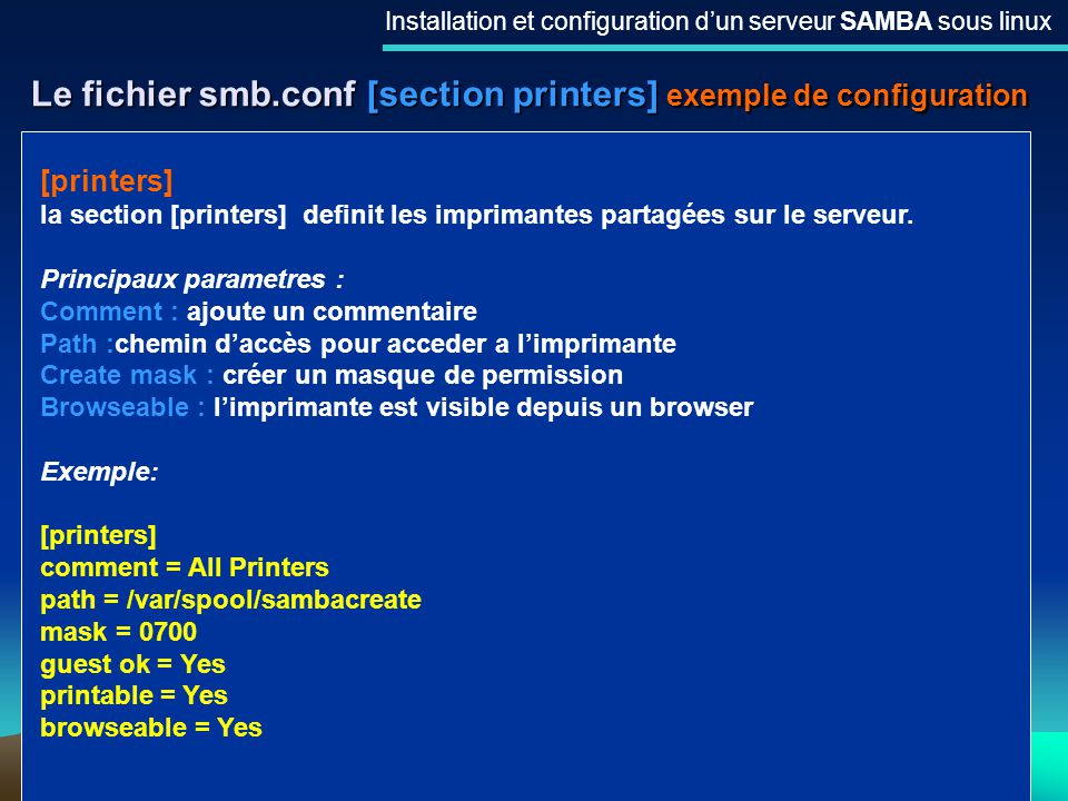 Le fichier smb.conf [section printers] exemple de configuration